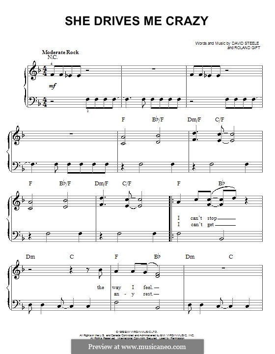 She Drives Me Crazy (Fine Young Cannibals): For easy piano by David Steele, Roland Gift