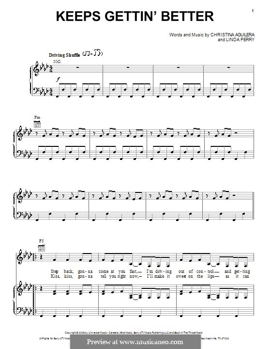Keeps Gettin' Better (Christina Aguilera): For voice and piano (or guitar) by Linda Perry