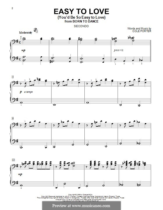 Easy to Love (You'd Be So Easy to Love): For piano four hands by Cole Porter