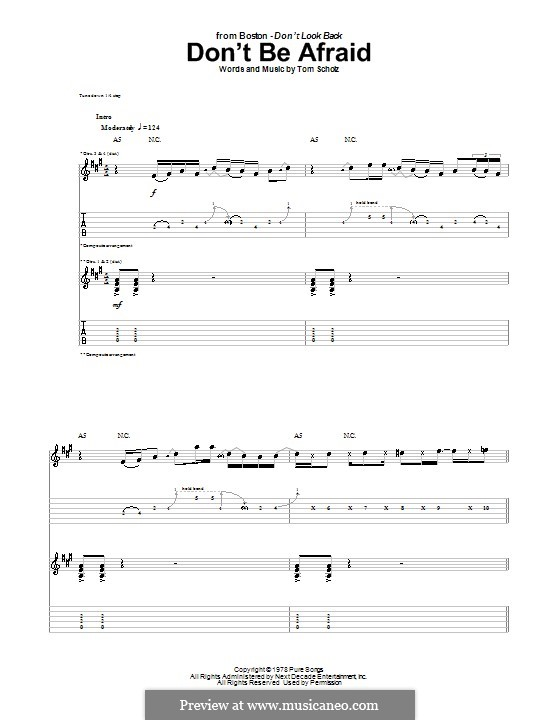 Don't Be Afraid (Boston): For guitar with tab by Tom Scholz