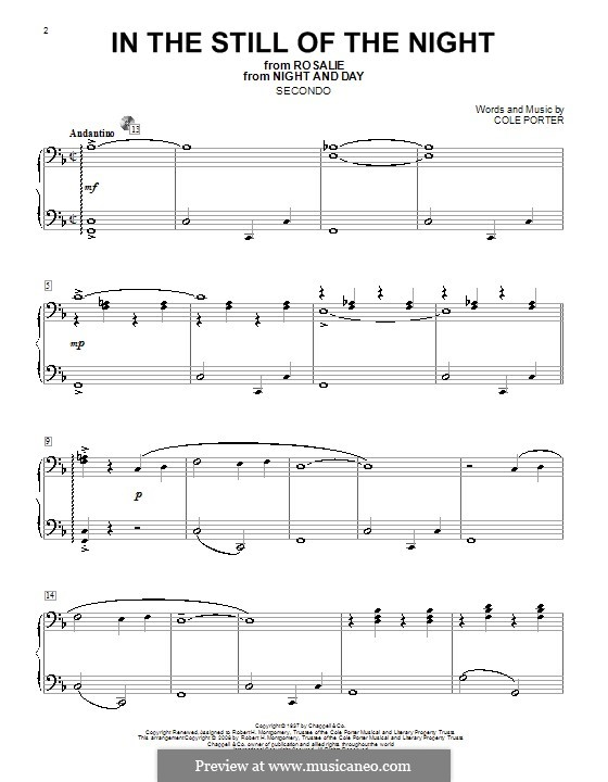 In the Still of the Night: For piano four hands by Cole Porter