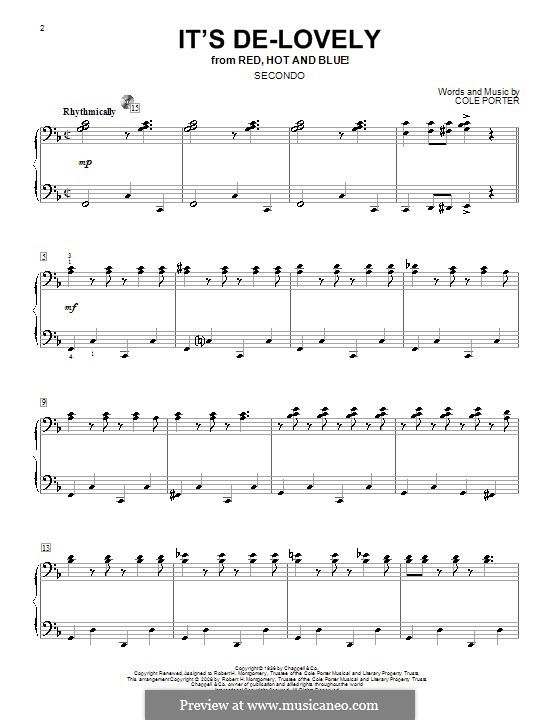 It's De-Lovely: For piano four hands by Cole Porter