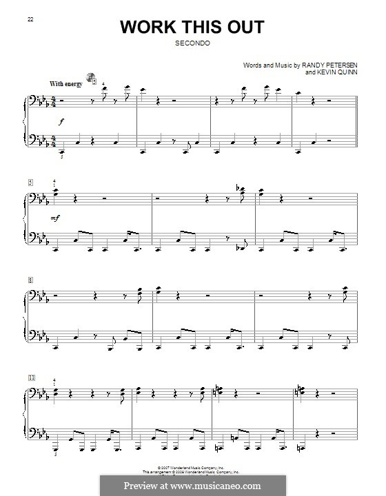 Work This Out (High School Musical 2): For piano four hands by Kevin Quinn, Randy Petersen