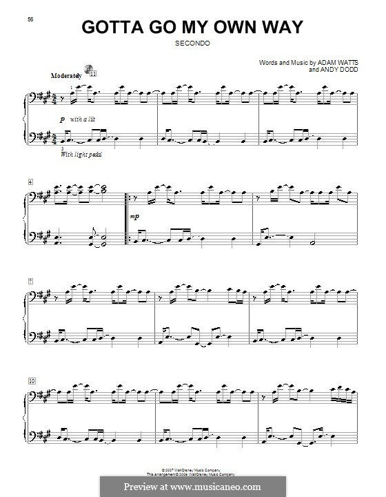 Gotta Go My Own Way (High School Musical 2): For piano four hands by Adam Watts, Andrew Dodd