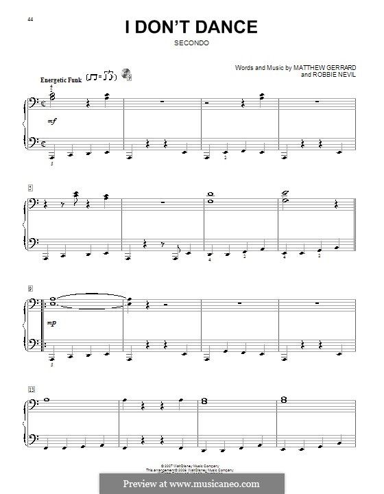I Don't Dance (from High School Musical 2): For piano four hands by Matthew Gerrard, Robbie Nevil