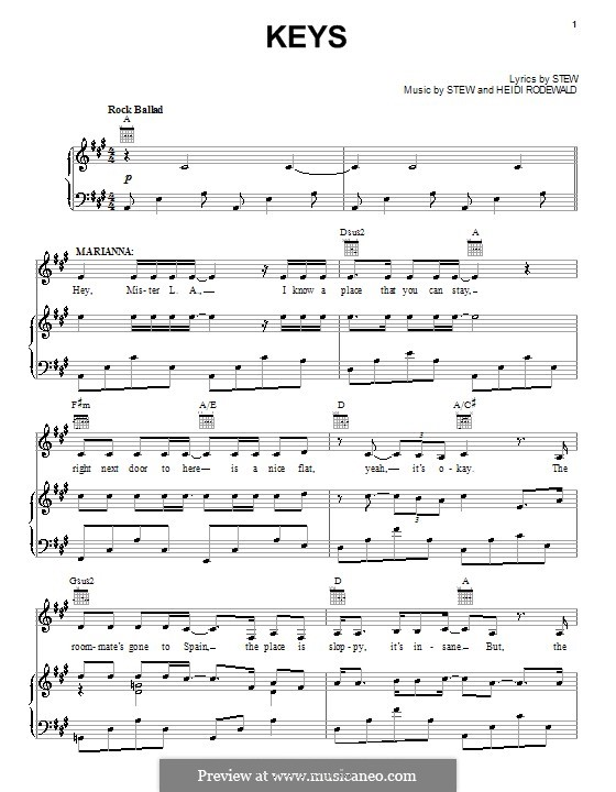 Keys (Stew): For voice and piano (or guitar) by Heidi Rodewald