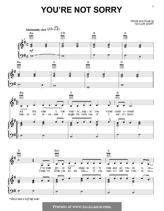 Enchanting You Re Not Sorry Piano Chords Image Song Chords Images