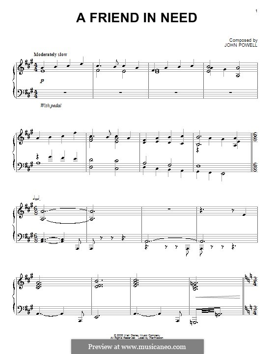 A Friend in Need: For piano by John Powell