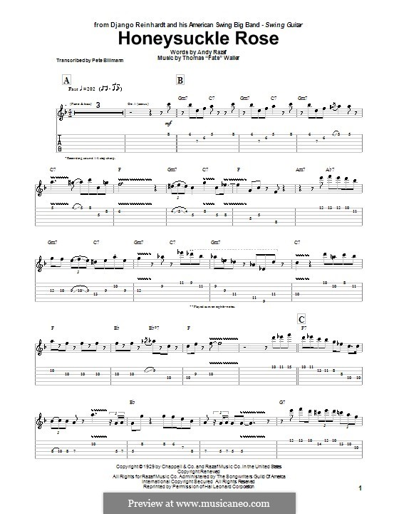 Honeysuckle Rose: For guitar with tab by Fats Waller