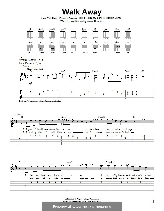 Walk Away (High School Musical 3): For guitar (very easy version) by Jamie Houston