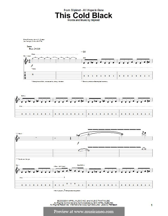 This Cold Black: For guitar with tab by Slipknot
