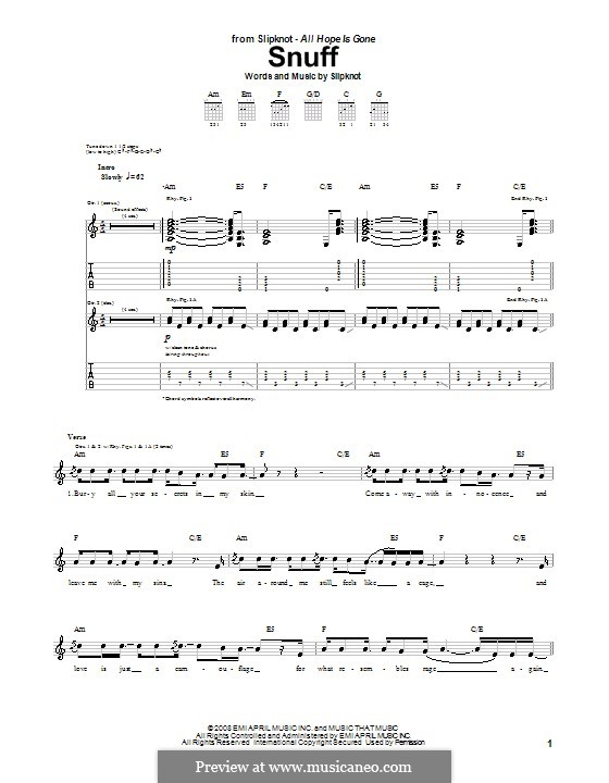 Snuff: For guitar with tab by Slipknot