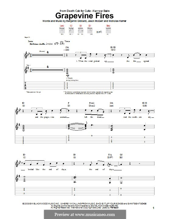 Grapevine Fires (Death Cab for Cutie): For guitar with tab by Benjamin Gibbard, Jason McGerr, Nicholas Harmer