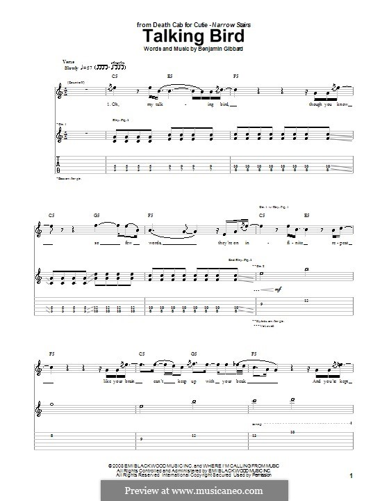 Talking Bird (Death Cab for Cutie): For guitar with tab by Benjamin Gibbard