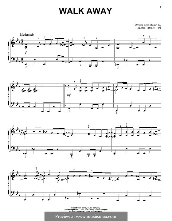 Walk Away (High School Musical 3): For piano by Jamie Houston
