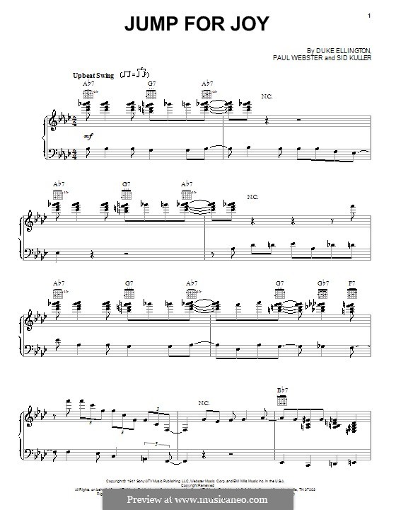 Jump for Joy (Duke Ellington): For voice and piano (or guitar) by Paul Francis Webster, Sid Kuller