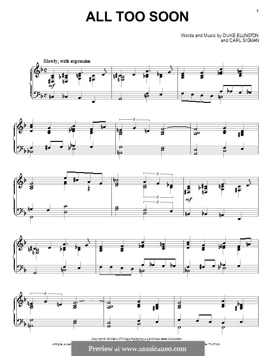 All Too Soon (Duke Ellington): For voice and piano (or guitar) by Carl Sigman