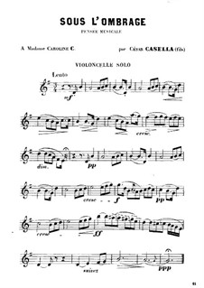 Sous l'Ombrage: Cello solo part by Cesar Casella