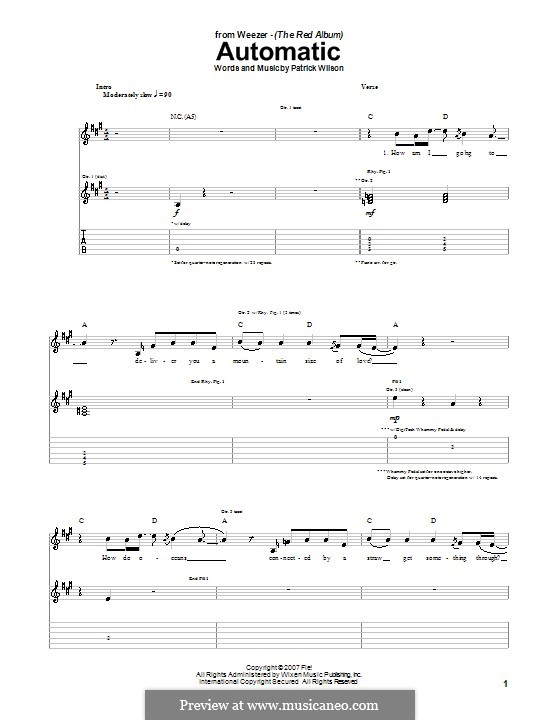 Automatic (Weezer): For guitar with tab by Patrick Wilson