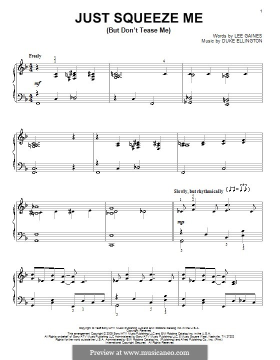 Just Squeeze Me (But Don't Tease Me): For piano by Lee Gaines