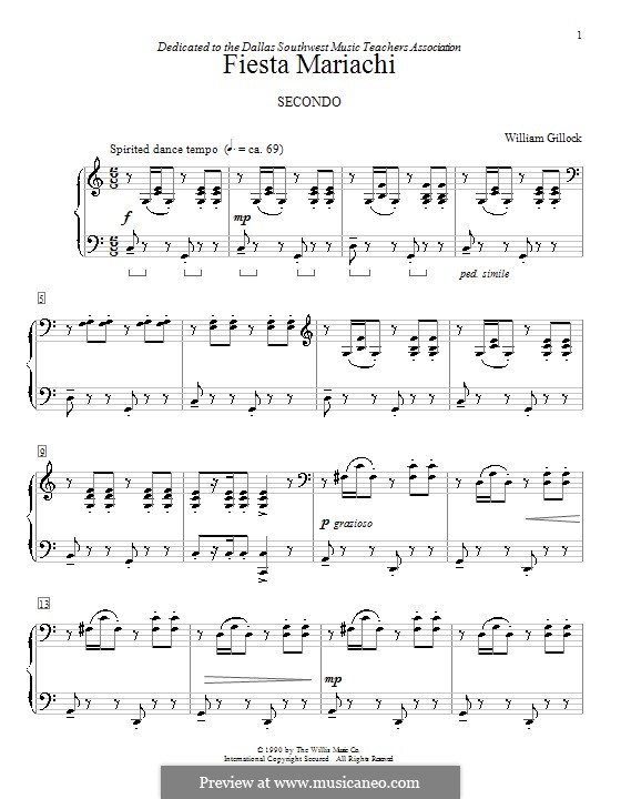 Fiesta Mariachi: For piano four hands by William Gillock