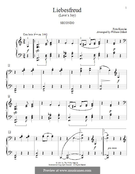 Liebesfreud: For piano by William Gillock
