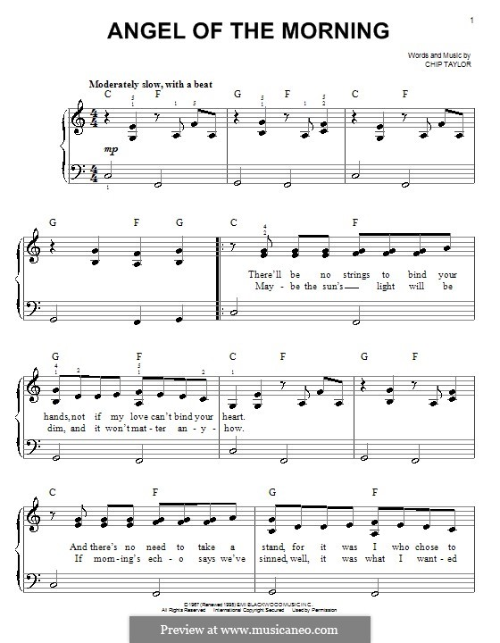 Angel of the Morning: For easy piano by Chip Taylor