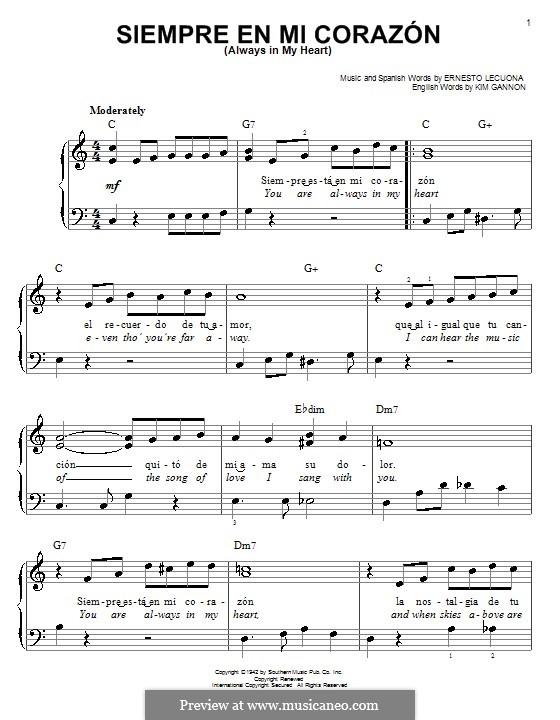 Always in My Heart (Siempre en mi Corazon): For easy piano by Ernesto Lecuona, Kim Gannon