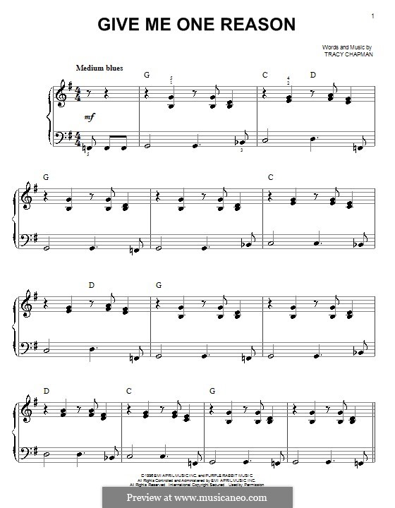 Give Me One Reason: For easy piano by Tracy Chapman