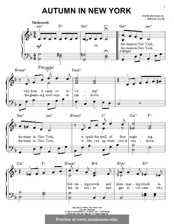 Autumn in New York: For easy piano by Vernon Duke