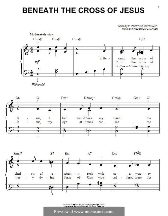 Beneath the Cross of Jesus: For easy piano by Frederick Charles Maker