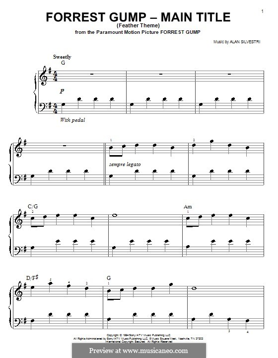 Forrest Gump Suite (Theme): For easy piano (with chords) by Alan Silvestri