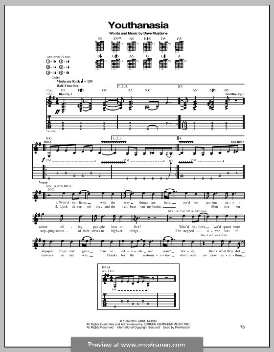 Youthanasia (Megadeth): For guitar with tab by Dave Ellefson, Dave Mustaine, Martin Friedman, Nick Menza