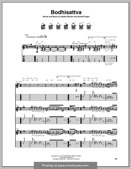 Bodhisattva (Steely Dan): For guitar with tab by Donald Fagen, Walter Becker