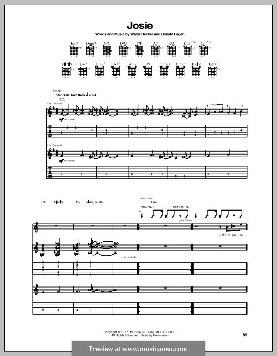 Josie (Steely Dan): For guitar with tab by Donald Fagen, Walter Becker