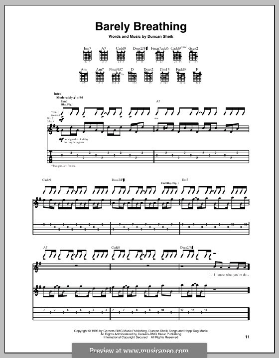 Barely Breathing: For guitar with tab by Duncan Sheik