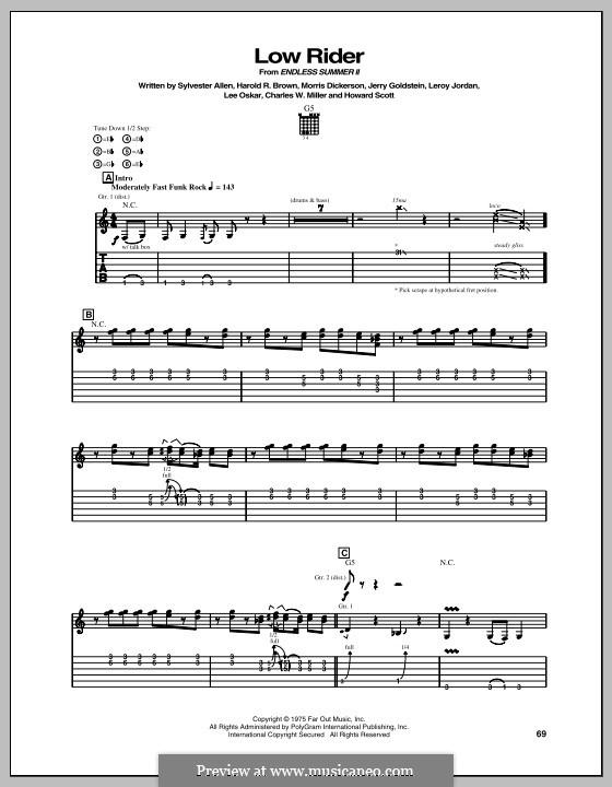 Low Rider: For guitar with tab (Gary Hoey) by Charles W. Miller, Harold R. Brown, Howard Scott, Jerry Goldstein, Leroy Lonnie Jordan, Lee Oskar, Morris Dickerson, Sylvester Allen