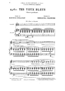 Tes yeux bleus : For tenor (or soprano) by Emmanuel Chabrier