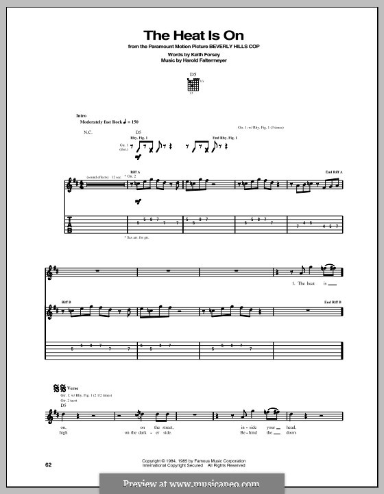 The Heat Is on (Glenn Frey): For guitar with tab by Harold Faltermeyer, Keith Forsey