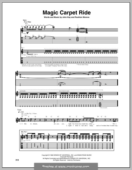 Magic Carpet Ride (Steppenwolf): For guitar with tab by John Kay, Rushton Moreve