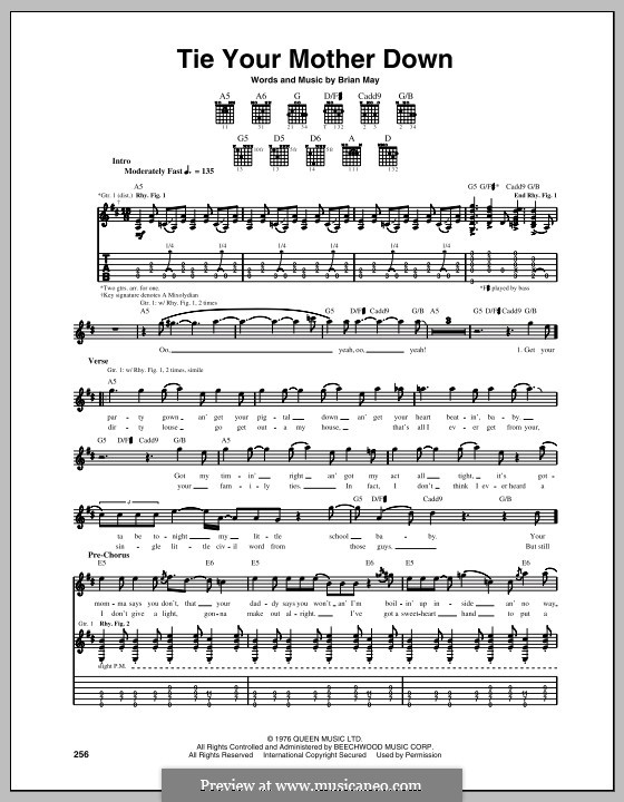 Tie Your Mother Down (Queen): For guitar with tabulature by Brian May