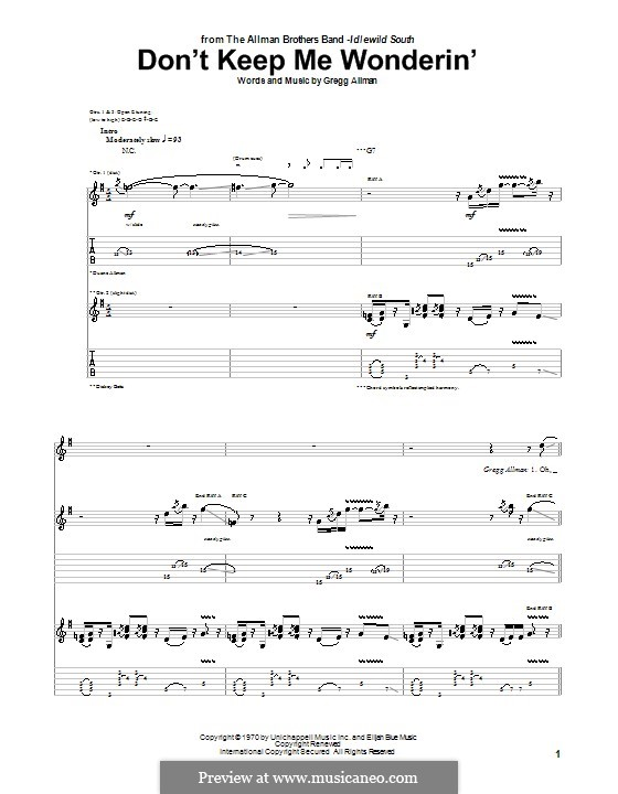 Don't Keep Me Wonderin' (The Allman Brothers Band): For guitar with tab by Gregg Allman