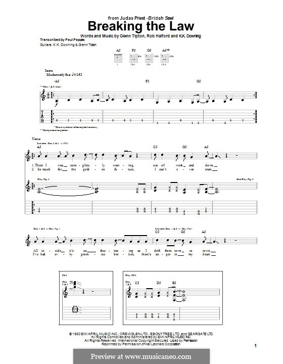 Breaking the Law (Judas Priest): For guitar with tab by Glenn Tipton, K. K. Downing, Robert Halford