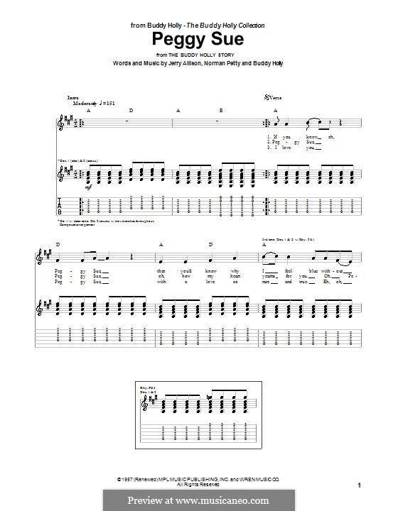 Peggy Sue: For guitar with tabulature by Buddy Holly, Jerry Allison, Norman Petty