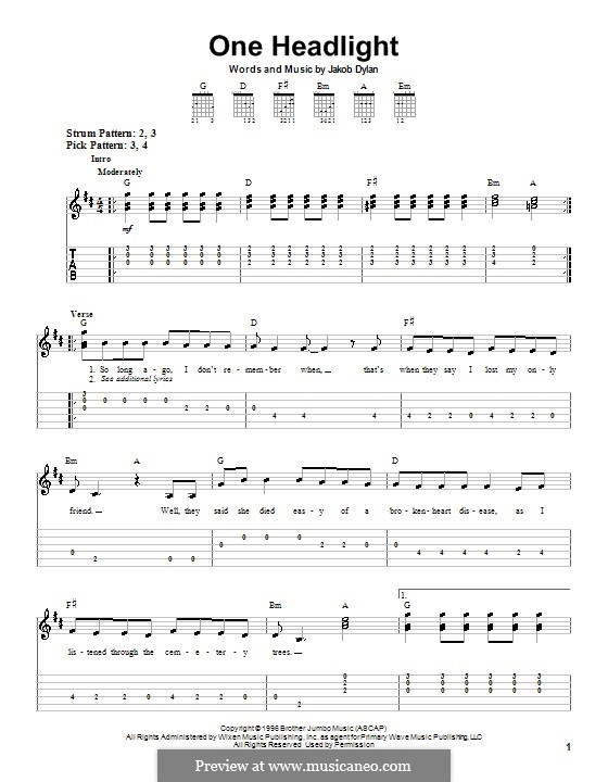 One Headlight (The Wallflowers): For guitar (very easy version) by Jakob Dylan
