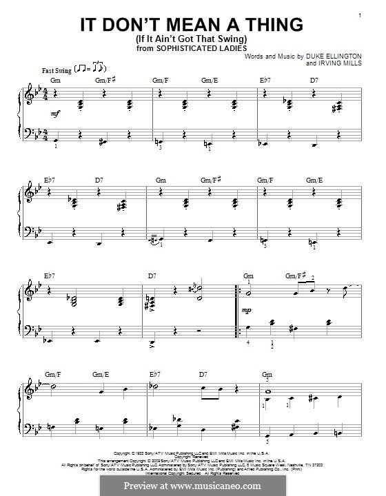 It Don't Mean a Thing (If It Ain't Got That Swing): For piano by Irving Mills, Duke Ellington