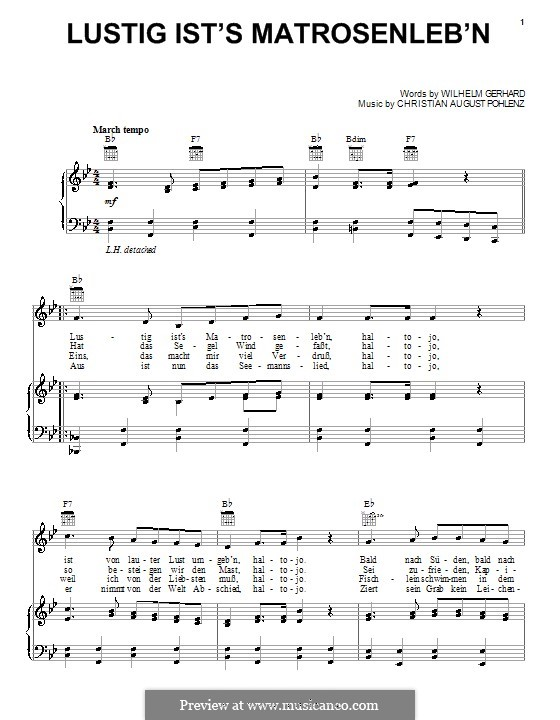 Lustig Ist's Matrosenleb'n: For voice and piano (or guitar) by Wilhelm Gerhard