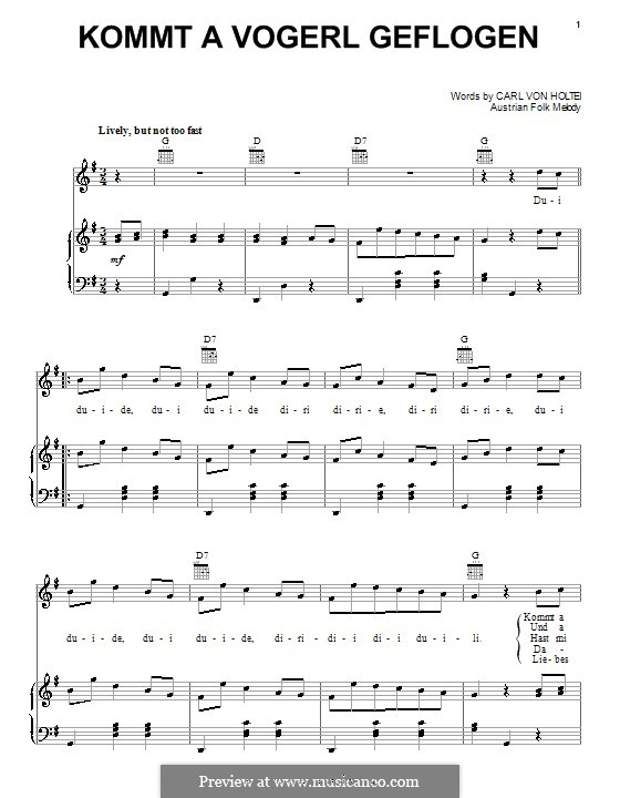 Kommt a Vogerl Geflogen (A Bird Comes Flying): For voice and piano (or guitar) by folklore
