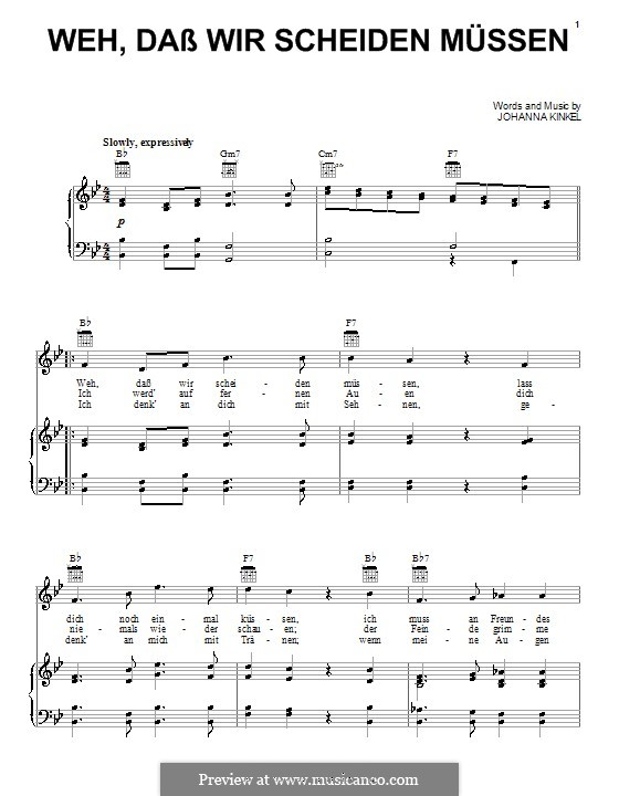 Weh, Dass Wir Scheiden Mussen (The Soldiers Farewell): For voice and piano (or guitar) by Johanna Kinkel