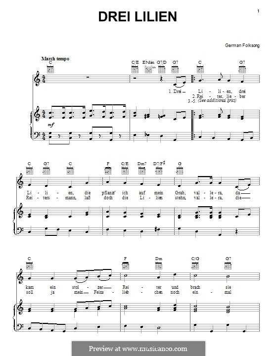 Drei Lilien (Three Lilies): For voice and piano (or guitar) by folklore